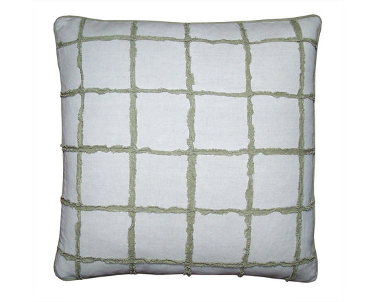 Pillow Covers in Window Pane Check - Bamboo Green - High-end Custom and Ready made pillows available on-line.  A Limited Edition Window Pane Check Decorative Pillow Covers in a Bamboo Green and Natural Oatmeal Color.  Chenille Like Strips of Washed, Frayed and Fringed  Euro Linen in Green are Appliqued to an Oatmeal Linen/ Cotton Fabric. Welt Detail in Green. See Companion Pillows.   Couture Custom Workroom Services Available. Artisanaworks