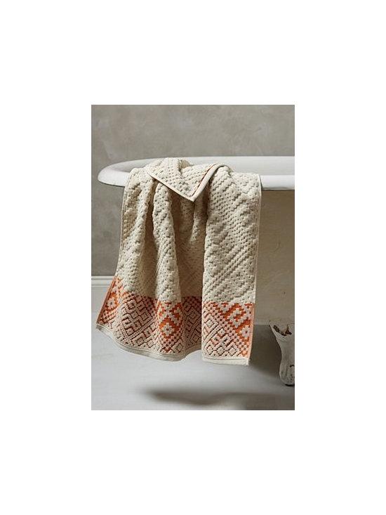 "Anthropologie - Raia Towel Set - Cotton. Machine wash. Bath Towel: 54""L, 30""W. Hand Towel: 30""L, 16""W. Washcloth: 13"" square. Portugal"