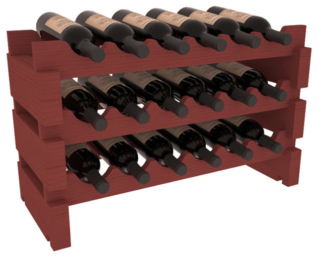 18 Bottle Mini Scalloped Wine Rack in Pine with Cherry Stain traditional-wine-racks