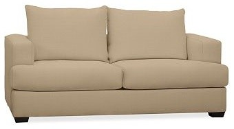 Hampton Upholstered Sofa, Down-Blend Wrap Cushions, Washed Linen-Cotton Camel traditional-sofas