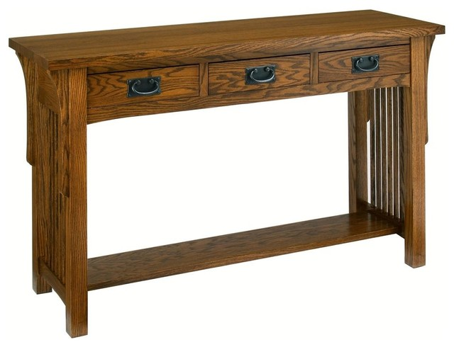 Arts and crafts sofa table w 3 drawers mission for Arts and crafts sofa table