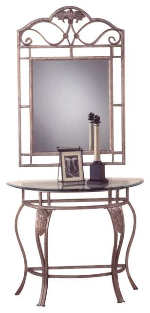 Cozy Hilale Bordeaux Half Moon Console Table With Mirror In Castrophotos