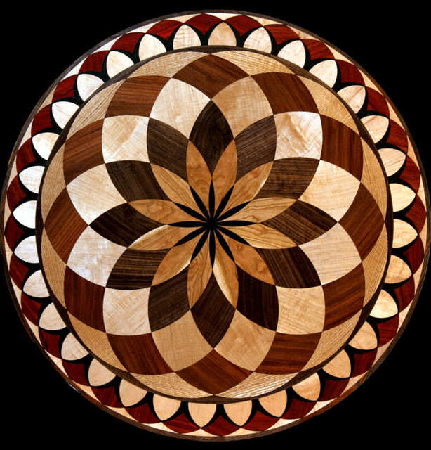 wood floor inlaid designs medallions eclectic floor
