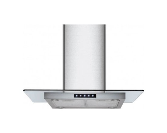 Kitchen Bath Collection - 36-in Stainless Steel Island Hood with Flat Glass by Kitchen Bath Collection - The 36-inch island-mounted stainless steel range hood with flat tempered glass by Kitchen Bath Collection features a two-piece adjustable chimney with sleek curved edges, no visible welded seam on any of the four faces of the chimney, touch screen control panel, four LED lights, and three speed settings. It includes a flexible aluminum duct for easy attachment to the ceiling, two aluminum micro-cell grease filters (dishwasher friendly), a UL-certified motor, and charcoal carbon filters for optional vent-less installation (no additional kit required). Made from high quality 304 stainless steel.