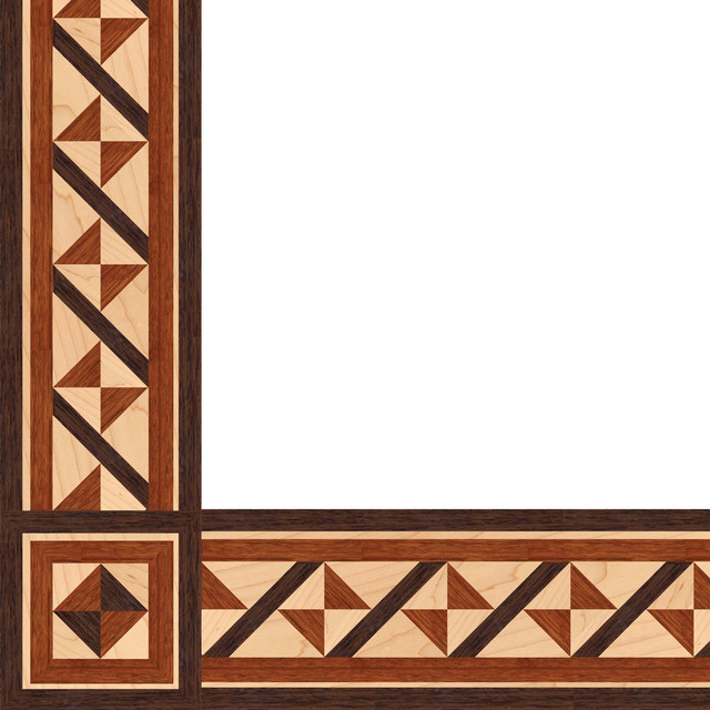 Oshkosh designs mediterrean inlay border and corner Hardwood floor designs borders