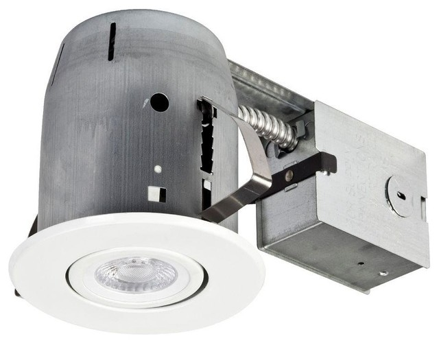 Globe Electric Recessed Lighting 4 in White LED Integrated IC Rated Swivel contemporary recessed lighting