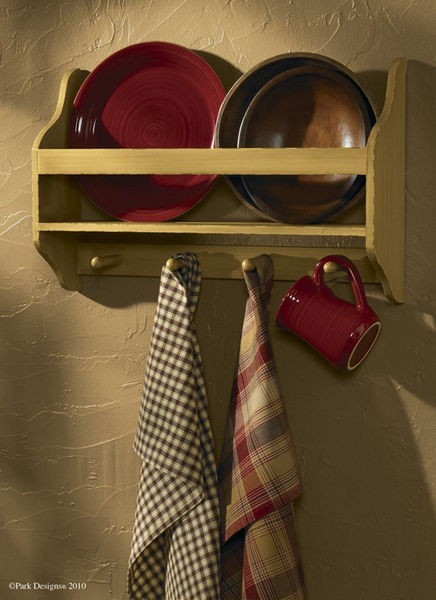 Pearwood Wooden Plate Rack traditional-wall-shelves