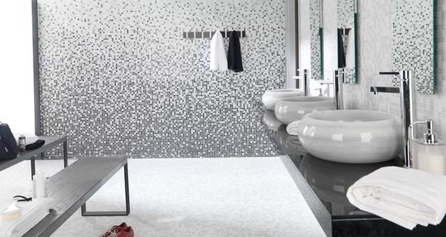 Mosaico Variaton Greys wall tiles / Blanco Almería Greys floor tiles modern-tile
