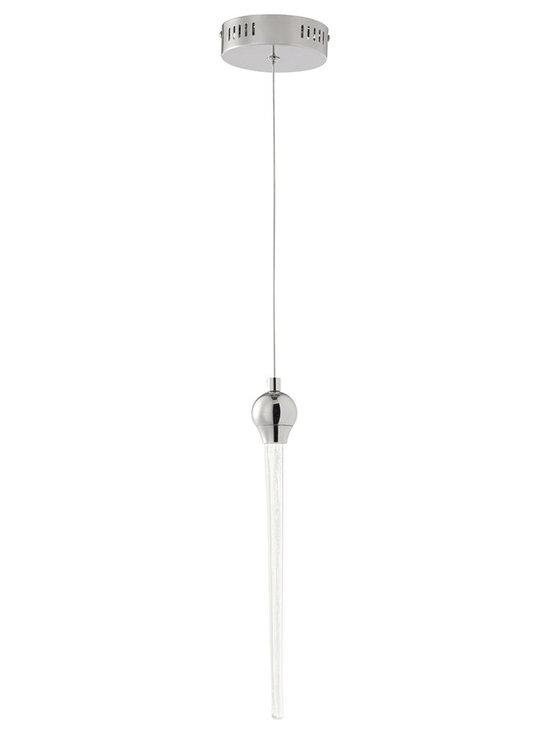 "Possini Euro Design - Possini Euro Felecia 2"" Wide Chrome LED Mini Pendant Light - Energy efficient mini pendant. Chrome finish. Clear acrylic shade. From Possini Euro Design. Includes six LEDs. Light output 270 lumens. Light output comparable to a 35 watt incandescent bulb. 2700K color temperature. Fixture measures 14"" high 2"" wide. Includes 60"" of cord. Canopy is 4 3/4"" wide. Hanging weight is 3.3 lbs.  Energy efficient mini pendant.  Chrome finish.  Clear acrylic shade.  From Possini Euro Design.  Includes six 1 watt cluster LEDs.   Light output 270 lumens.  Light output comparable to a 35 watt incandescent bulb.  2700K color temperature.  Fixture measures 14"" high 2"" wide.  Includes 60"" of cord.  Canopy is 4 3/4"" wide.  Hanging weight is 3.3 lbs."