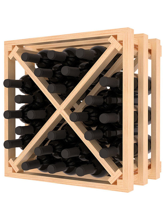 Lattice Stacking X Wine Cube in Pine with Satin Finish - Designed to stack one on top of the other for space-saving wine storage our stacking cubes are ideal for an expanding collection. Use as a stand alone rack in your kitchen or living space or pair with the 16-Bottle Cubicle Wine Rack and/or the Stemware Rack Cube for flexible storage.