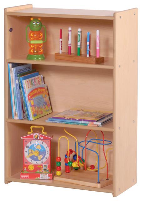 steffywood kids toddler wooden narrow three shelf toys book storage unit contemporary baby. Black Bedroom Furniture Sets. Home Design Ideas