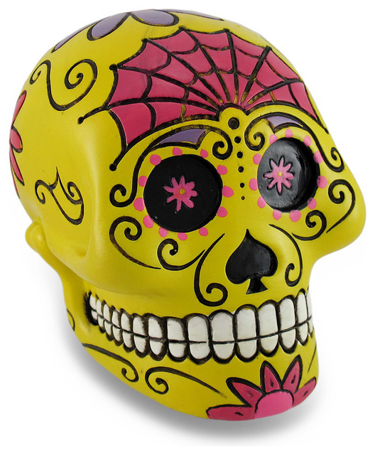Handmade yellow day of the dead sugar skull coin bank for Handmade coin bank