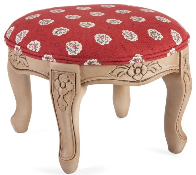Round LXV Footstool, Maianenco Red by Pierre Deux footstools-and-ottomans