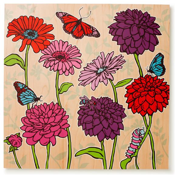 Dahlias and Daisies Print (Poppy and Blue) contemporary-kids-decor