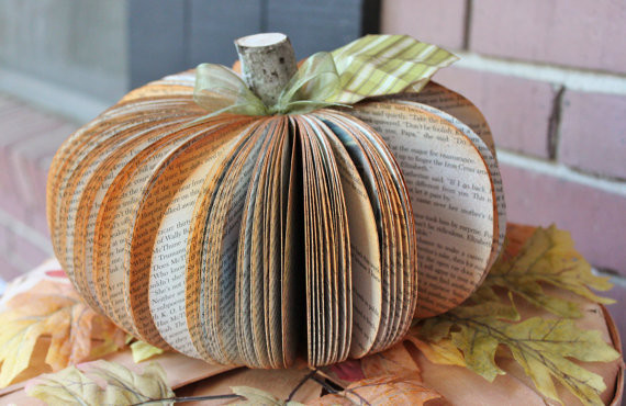 Upcycled Book Pumpkin by Whimsy's Workshop eclectic-holiday-decorations
