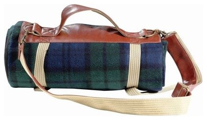 Blue Tartan Spark Fleece Blanket Tote w/Water Proof Backing | Picnic Gift traditional