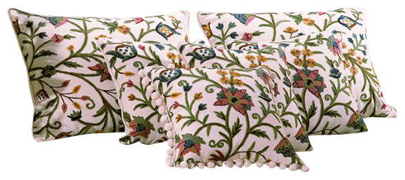 Crewel Pillow Tree of Life Multi-Color on White Cotton Duck Standard (20x26) craftsman-bed-pillows