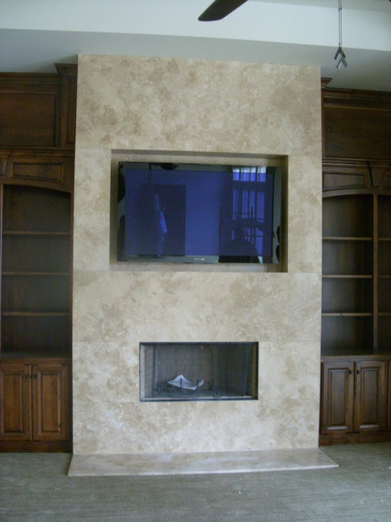 Curry Home - This fireplace/TV combo was surrounded by a Durango Travertine.  Very sleek way to install a travertine on a vertical application
