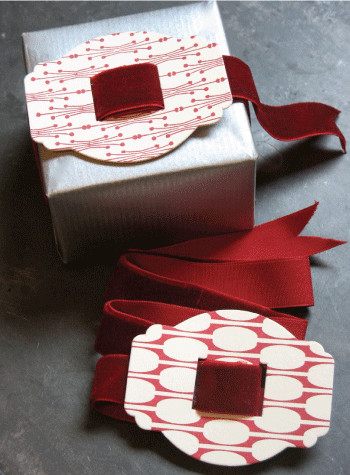 Red Letterpress Buckle with Velvet Ribbon traditional holiday decorations