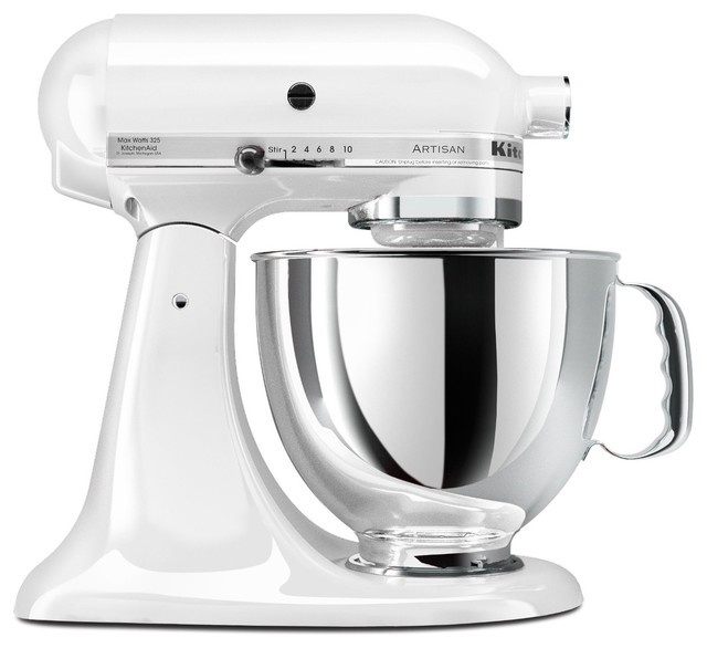 Kitchenaid artisan series 5 quart mixer white for Traditional kitchen appliances
