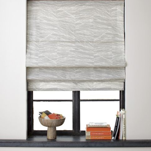 Branches printed roman shade contemporary curtains for West elm window treatments