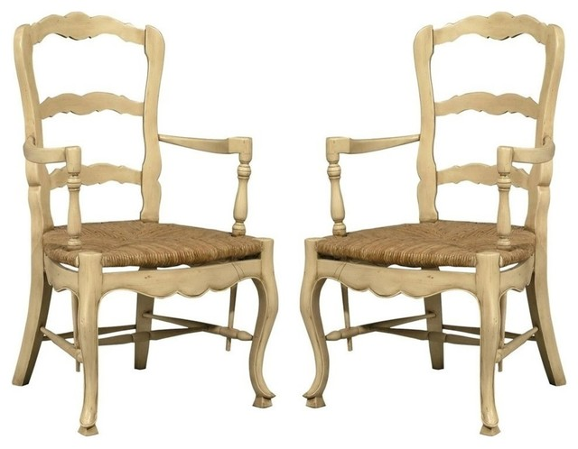 Pair new french country style ladderback arm farmhouse for French farmhouse dining chairs