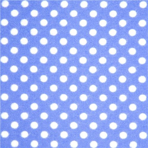blue Michael Miller flannel fabric white polka dots fabric
