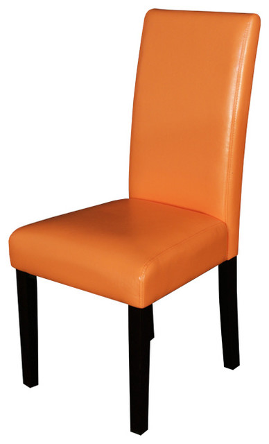 Villa Faux Leather Sunrise Orange Dining Chairs Set Of 2