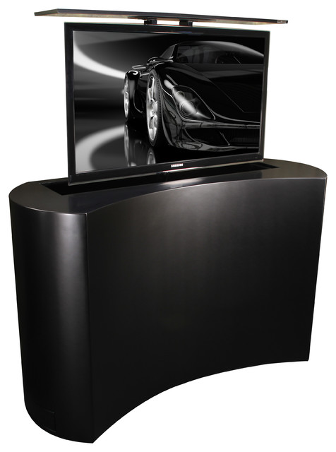 TV Cabinets Lifts, Black Satin Coast is US Made by Cabinet Tronix buffets-and-sideboards