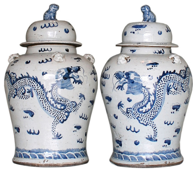 Pair of Large Chinese Blue & White Covered Jars asian-home-decor