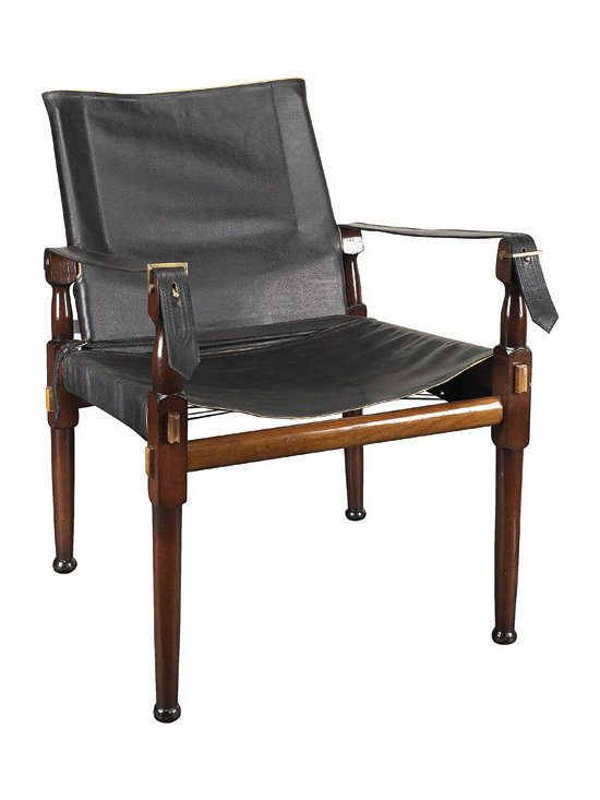"Inviting Home - British Imperial Army Leather Chair - A classic assembly campaign chair. Originally used in the British Imperial Army as an officers chair when in camp; 22-3/8"" x 22-1/2 x 31-1/8""H Reproduction of classic assembly campaign chair. Originally used in the British Imperial Army as an officer's chair when in camp. Campaign chair features heavy double layered cowhide with elegant natural vegetable dyed nappa leather piping and brass hardware. Enjoy Victorian comfort combined with a timeless look. Assembly required."