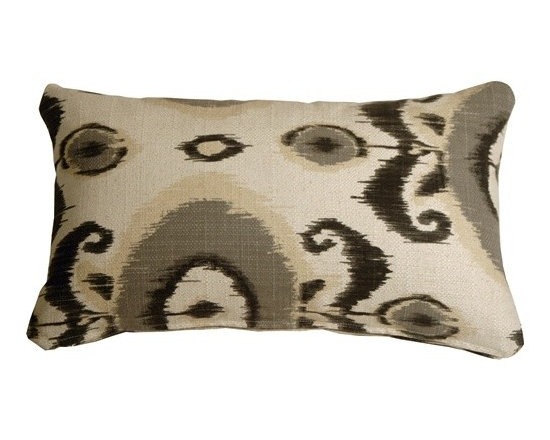 Pillow Decor - Pillow Decor - Bold Gray Ikat 12 x 20 Decorative Pillow - With its beautiful traditional Ikat design, this bold pattern throw pillow will add an uplifting touch to any room. The colors have a wonderful natural faded appearance that closely resembles that which is produced by the authentic Ikat dye and weaving process.