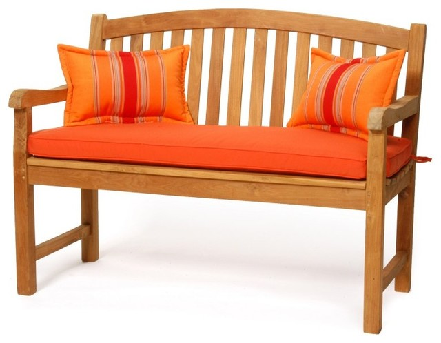 Caluco Teak Crown Bench Multicolor - 50-123-BRAVADA SALSA contemporary-patio-furniture-and-outdoor-furniture