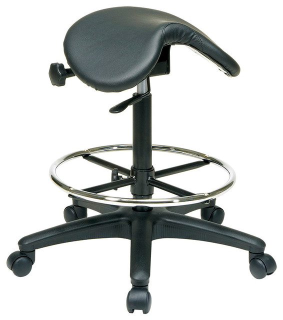 Work Smart Drafting Backless Stool With Saddle Seat Dual Wheel Carpet Cast