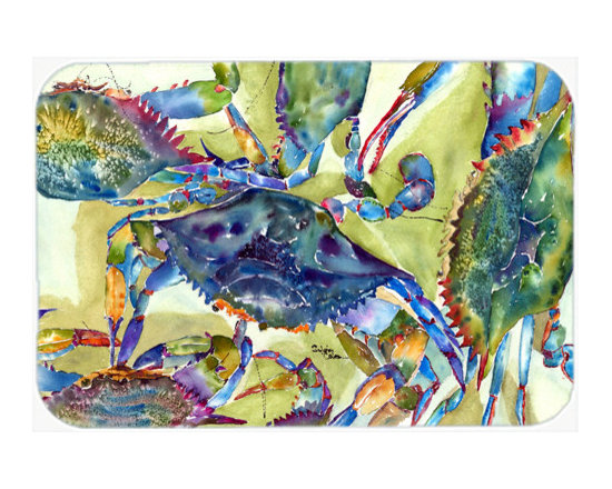Caroline's Treasures - Crab All Over Kitchen Or Bath Mat 24X36 - Kitchen or Bath COMFORT FLOOR MAT This mat is 24 inch by 36 inch. Comfort Mat / Carpet / Rug that is Made and Printed in the USA. A foam cushion is attached to the bottom of the mat for comfort when standing. The mat has been permenantly dyed for moderate traffic. Durable and fade resistant. The back of the mat is rubber backed to keep the mat from slipping on a smooth floor. Use pressure and water from garden hose or power washer to clean the mat. Vacuuming only with the hard wood floor setting, as to not pull up the knap of the felt. Avoid soap or cleaner that produces suds when cleaning. It will be difficult to get the suds out of the mat