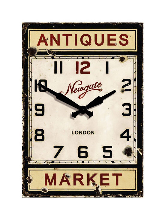 Antiques Market Wood Wall Clock - Barn Light Electric - The Antique Market Clock was inspired by some old advertising clocks found in Portabello Rd Market, London. It has been expertly designed to have an aged appearance that would be found on the originals.
