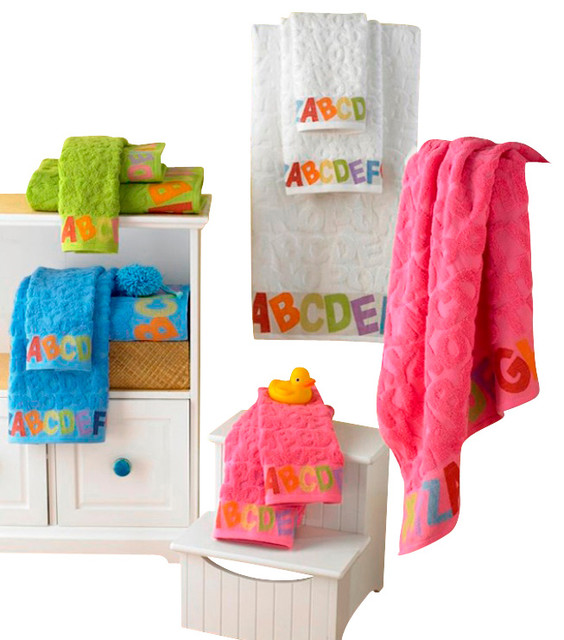 ABC Jacquard Luxury Baby Towels Pink 6 Piece