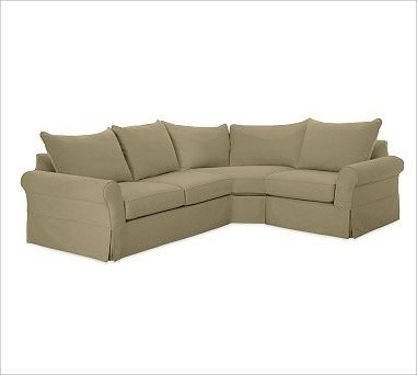 PB Comfort Roll Arm Slipcovered Left 3-Piece Wedge Sectional, Knife-Edge Cushion traditional-decorative-pillows