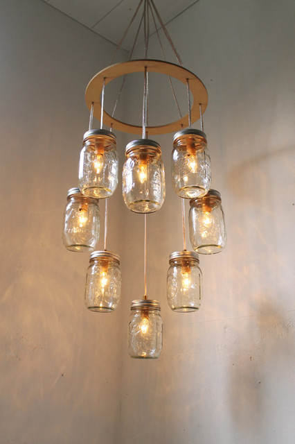 Mason Jar Chandelier by Boots N Gus eclectic-lighting