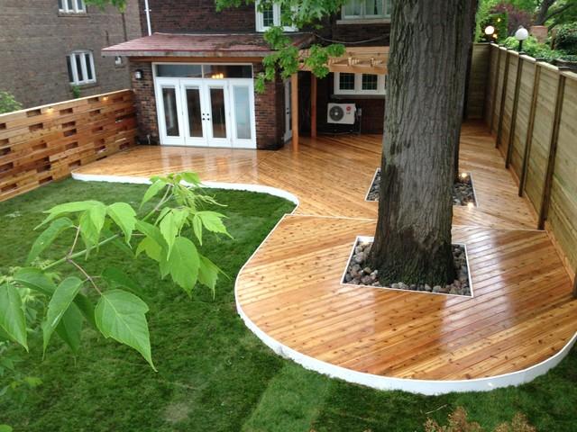 Cedar Deck With Pergola Gate And Horizontal Fence