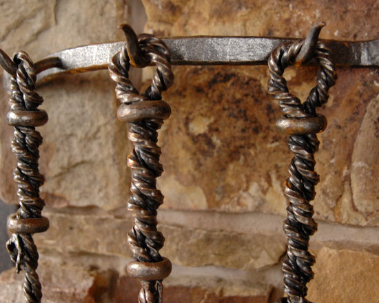 Fireplaces - Custom designed, hand forged, wrought iron fireplace tool set.
