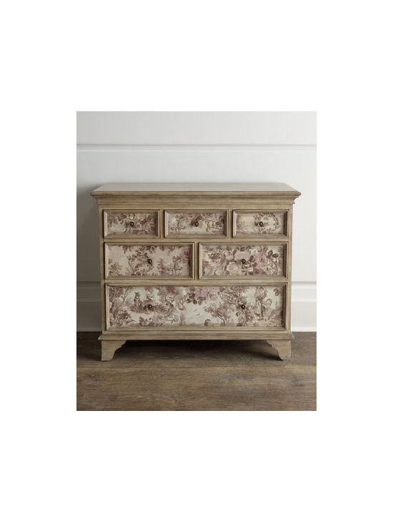 Horchow - Windsong Chest - This whimsical chest features toile-fabric inlays on the drawer fronts, maple veneers on the top and side panels, and English dovetail drawers. Handcrafted of select hardwoods. Antiqued-brass hardware. Hand-painted driftwood finish. Six drawers. 28...