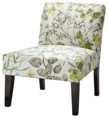 Avington Upholstered Armless Accent Slipper Chair, Gazebo Cloud Floral contemporary chairs
