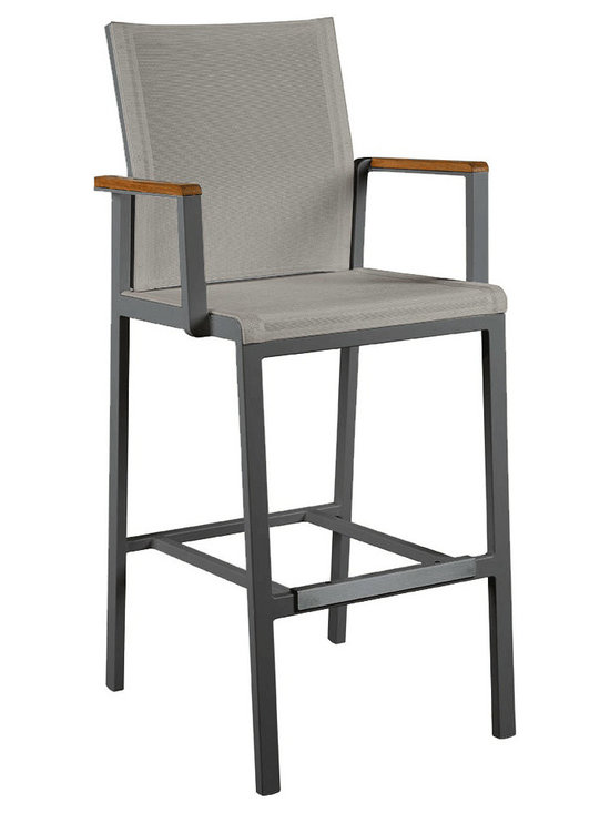 Barlow Tyrie - Barlow Tyrie Aura High Dining Carver Chair - Barlow Tyrie has been making high-quality outdoor furniture since 1920 and features classic and modern styles of teak, all-weather wicker and mixed material furniture combining teak, stainless-steel and sling. Lovely for use pool side indoors or out, for dining or just chatting. The foot bar has a protective cover that will resist marking and the arms are teak.