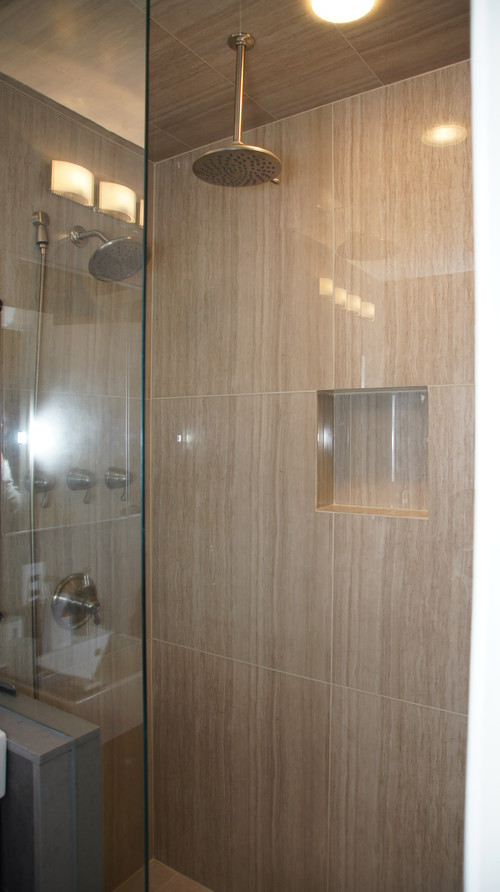 Large format porcelain tiles 32x32 in a small bathroom for Bathroom 7x12
