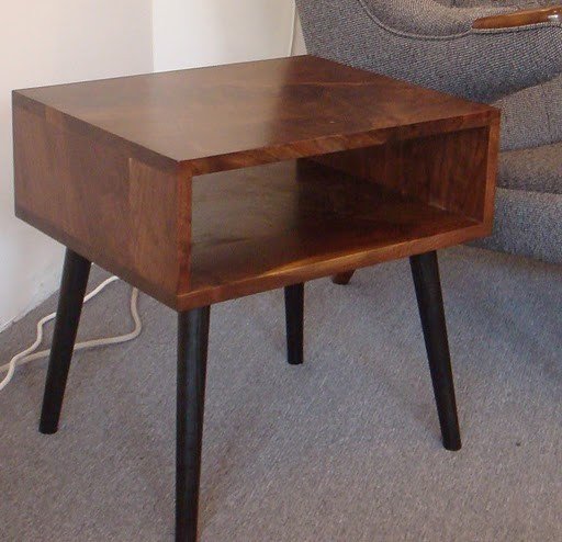 Mid century style walnut side table by jeremiahcollection modern nightstands and bedside tables
