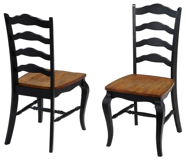 Oak and Rubbed Black Dining Chair Pair traditional-dining-chairs