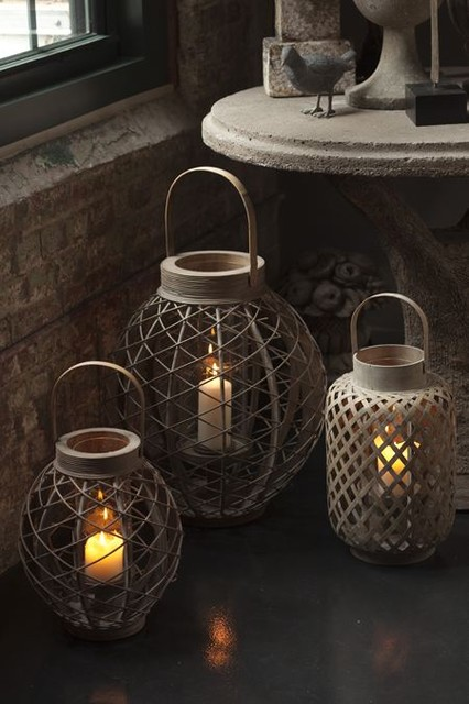 Lanterns with Glass hurricane traditional-indoor-pots-and-planters