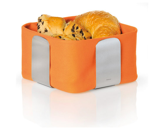 Blomus - Desa Bread Basket, Orange - The Desa Bread Basket from Blomus is available in your choice of 4 colors and 2 sizes. Made with brushed stainless steel and cotton fabric.