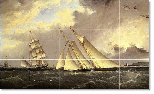 The Dauntless Off Sandy Hook Tile Mural By James Buttersworth traditional-tile
